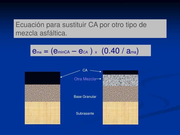 Ecuación para sustituir CA por otro tipo de mezcla asfáltica.