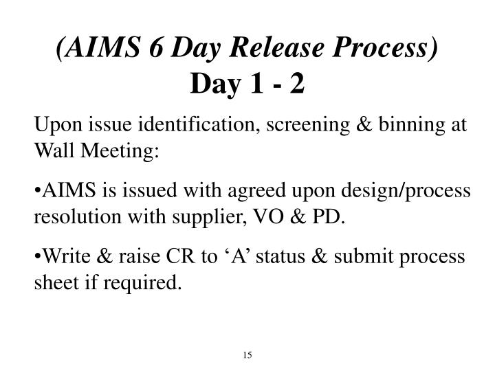 (AIMS 6 Day Release Process)