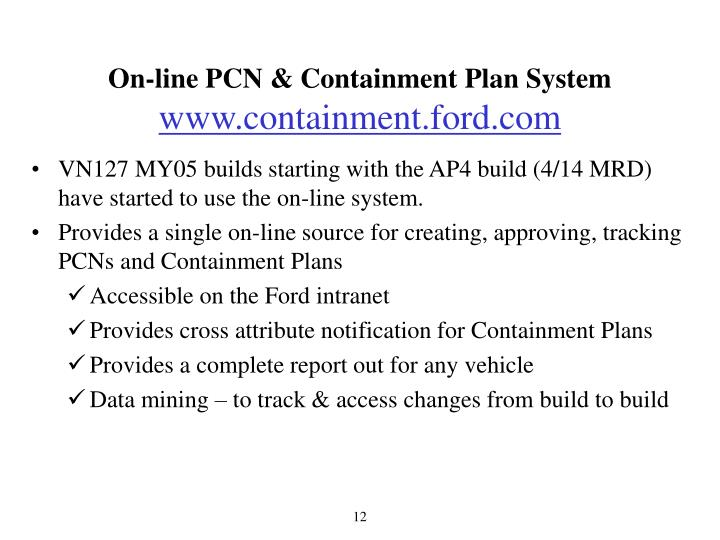On-line PCN & Containment Plan System