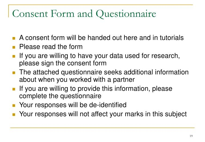 Consent Form and Questionnaire