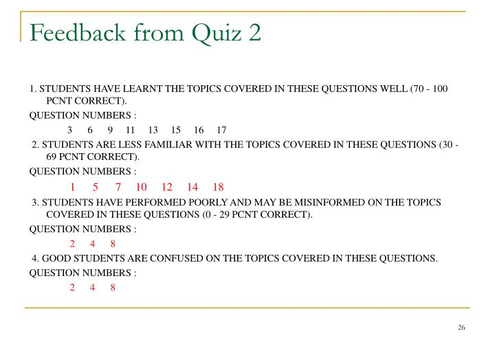 Feedback from Quiz 2
