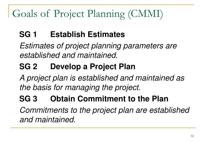 Goals of Project Planning (CMMI)