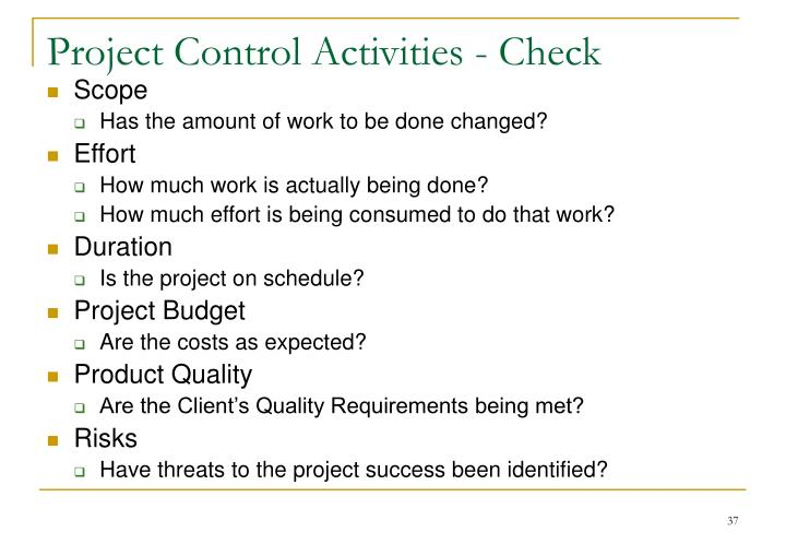 Project Control Activities - Check