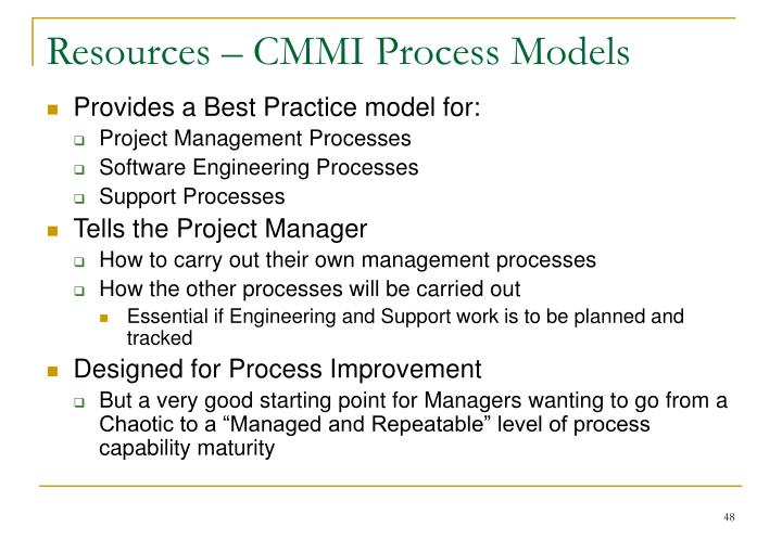 Resources – CMMI Process Models
