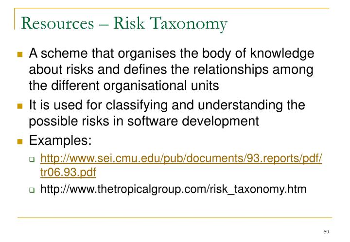 Resources – Risk Taxonomy