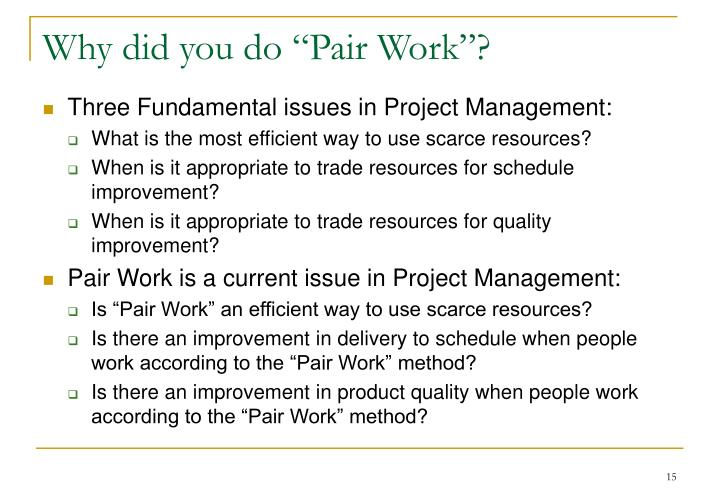 "Why did you do ""Pair Work""?"
