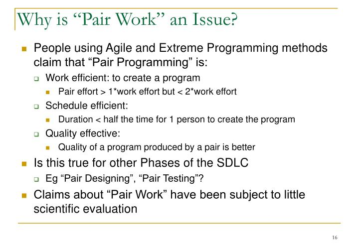 "Why is ""Pair Work"" an Issue?"