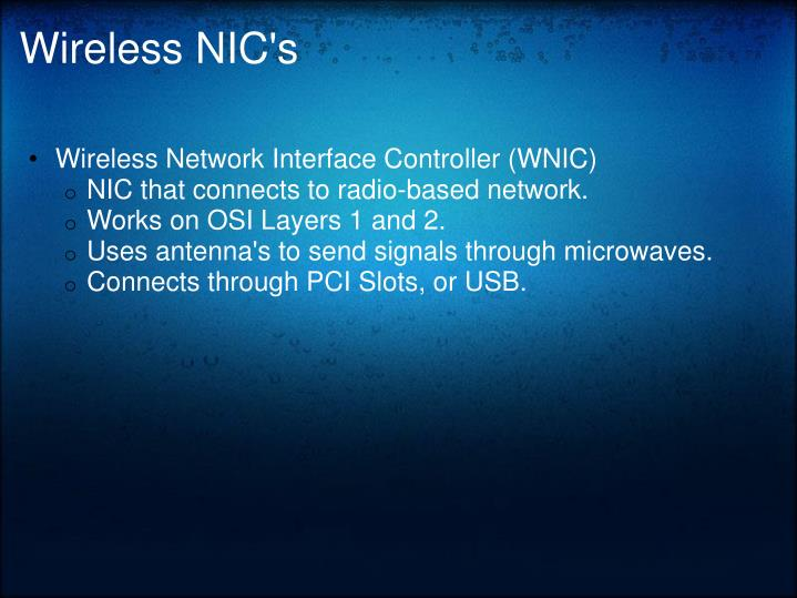 Wireless NIC's