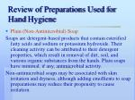 review of preparations used for hand hygiene