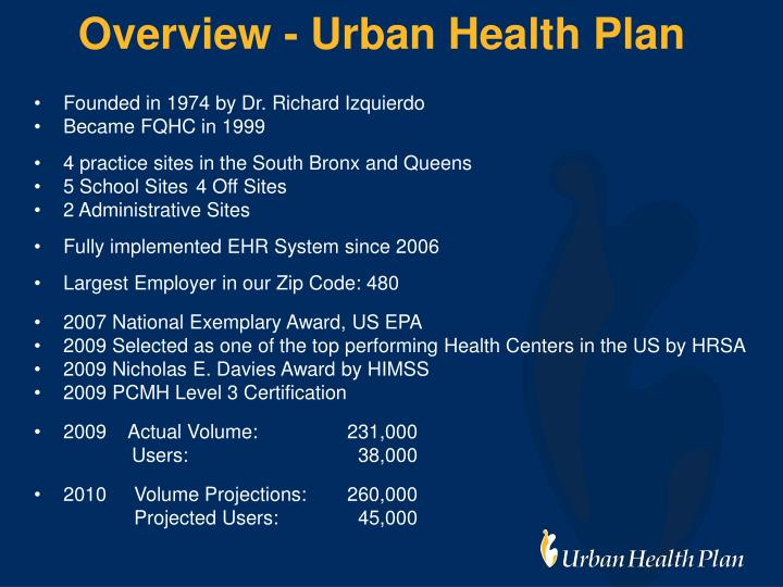 Overview - Urban Health Plan