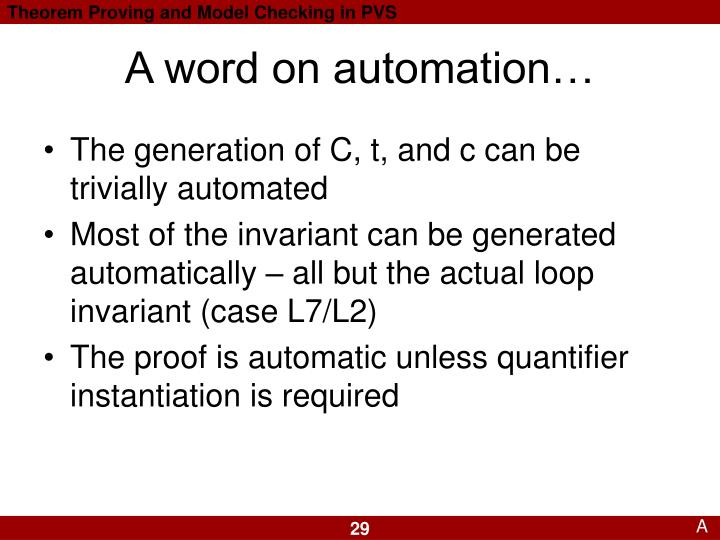 A word on automation…