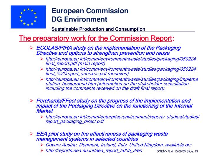 The preparatory work for the Commission Report