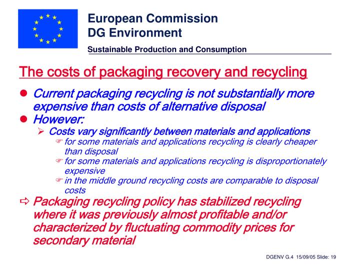 The costs of packaging recovery and recycling