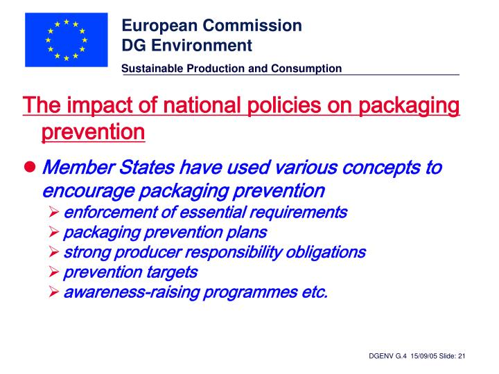 The impact of national policies on packaging prevention