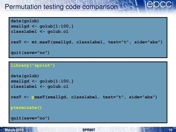 Permutation testing code comparison