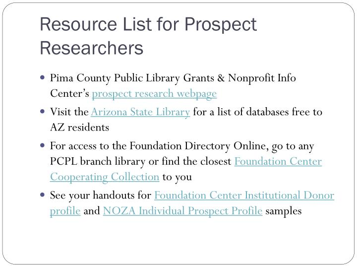Resource List for Prospect Researchers