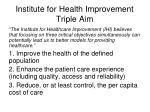 institute for health improvement triple aim
