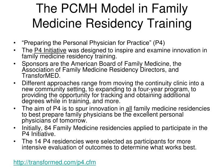 The PCMH Model in Family Medicine Residency Training