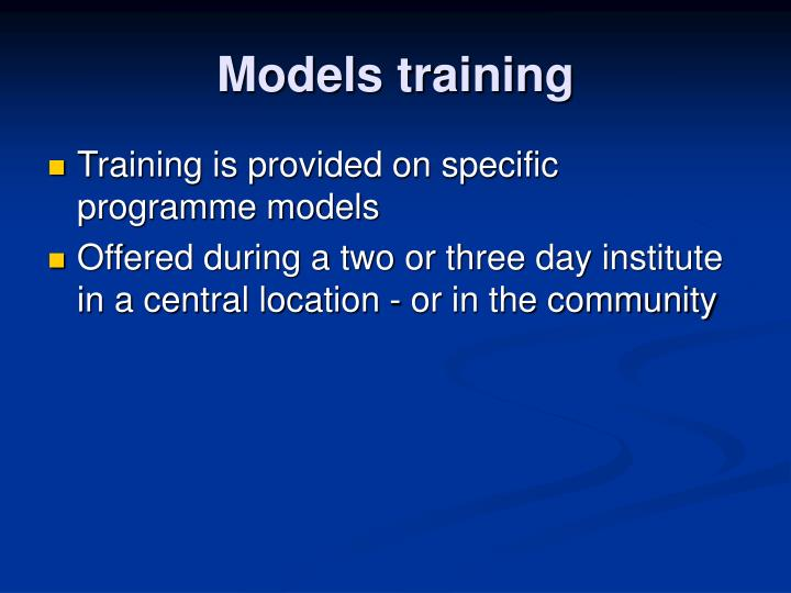 Models training