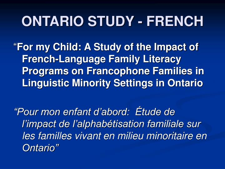 ONTARIO STUDY - FRENCH