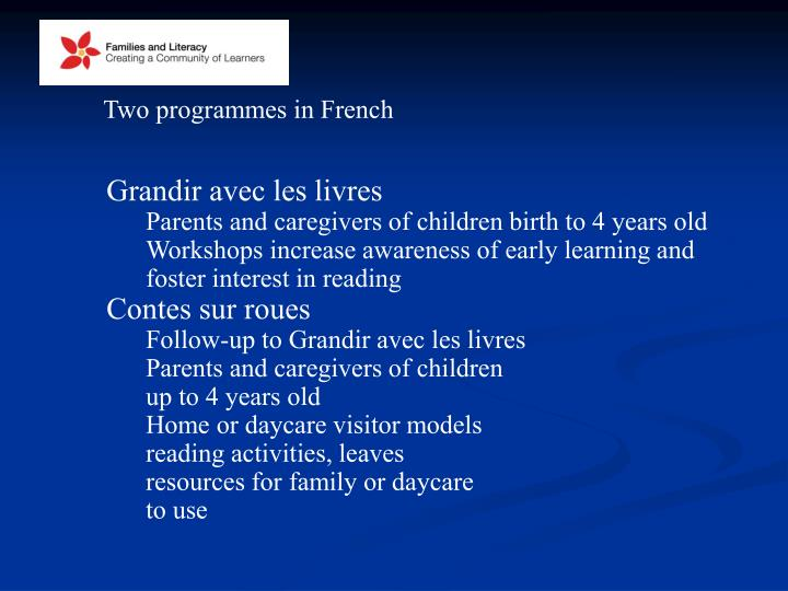 Two programmes in French