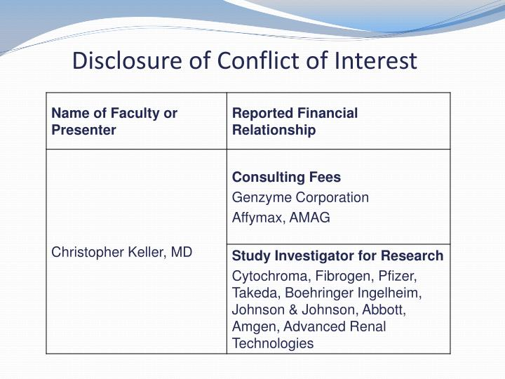 Disclosure of Conflict of Interest