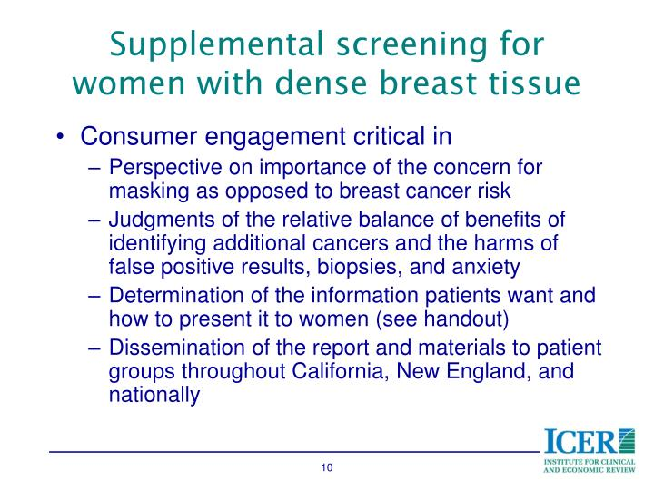 Supplemental screening for women with dense breast tissue