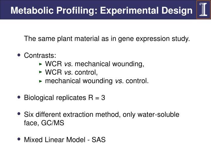 Metabolic Profiling: Experimental Design