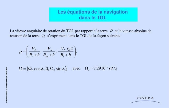 Les équations de la navigation
