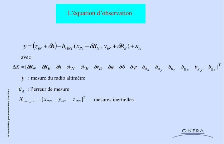 L'équation d'observation