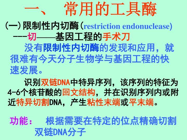 一、 常用的工具酶