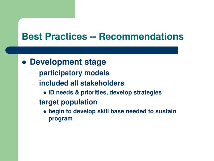 Best Practices -- Recommendations