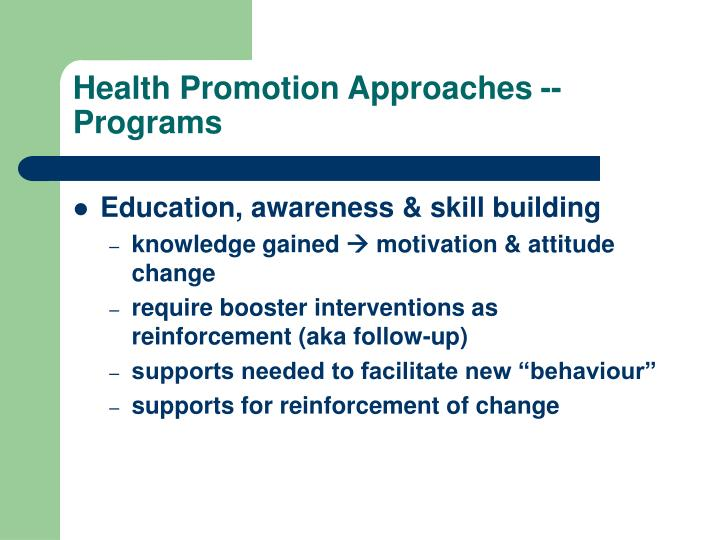 Health Promotion Approaches -- Programs