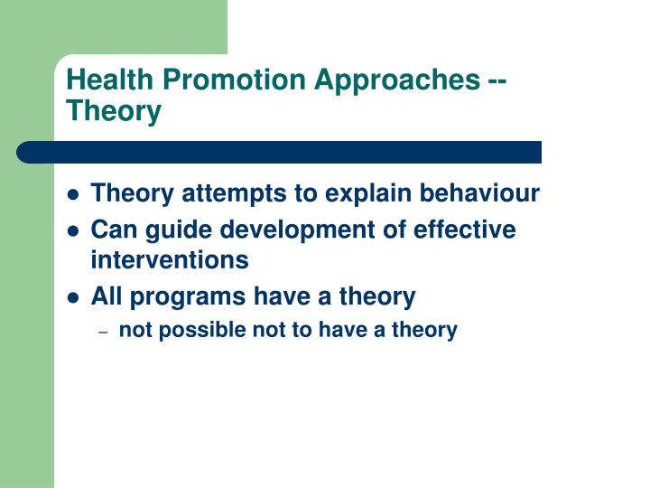 Health Promotion Approaches -- Theory