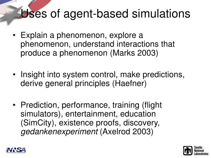 Uses of agent-based simulations