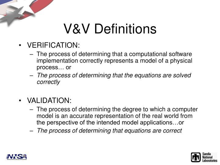 V&V Definitions