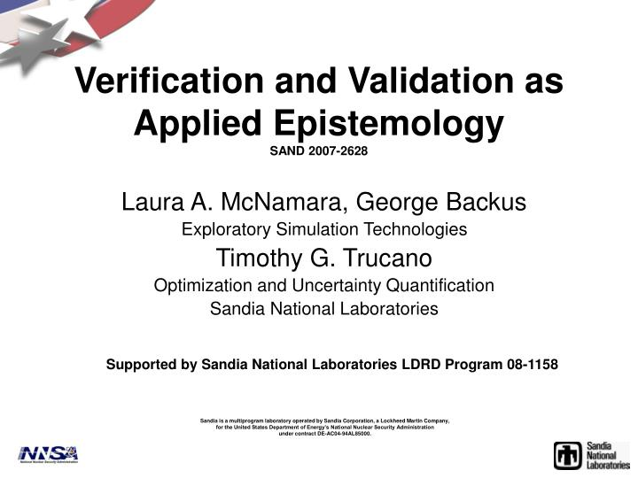 Verification and validation as applied epistemology sand 2007 2628