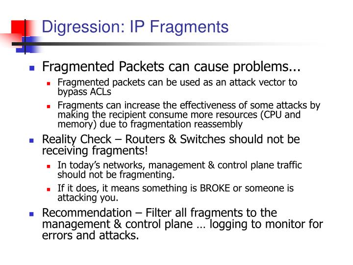 Digression: IP Fragments