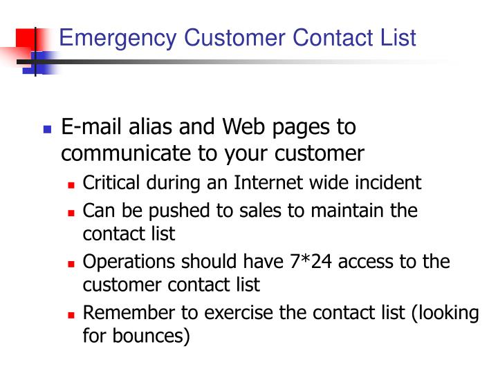 Emergency Customer Contact List