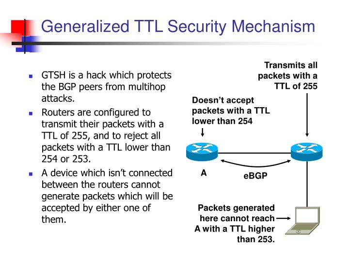 Packets generated here cannot reach A with a TTL higher  than 253.