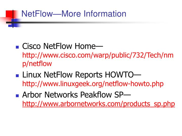 NetFlow—More Information