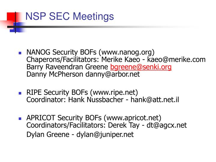 NSP SEC Meetings