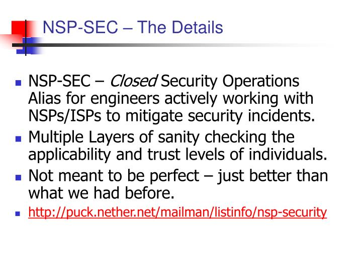 NSP-SEC – The Details