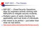 nsp sec the details