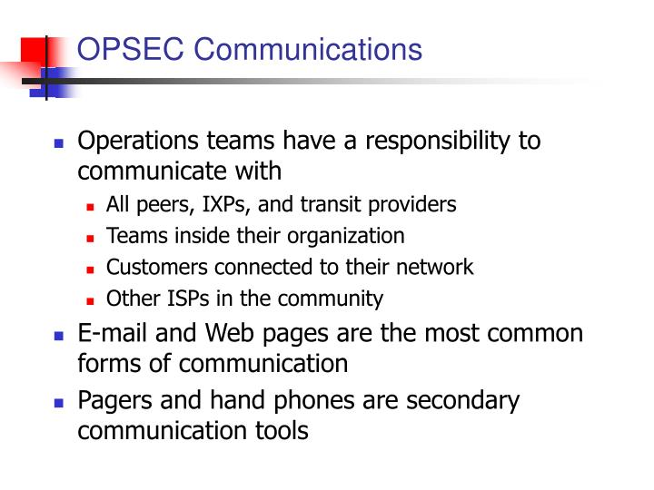 OPSEC Communications