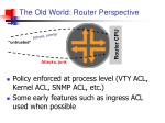 the old world router perspective