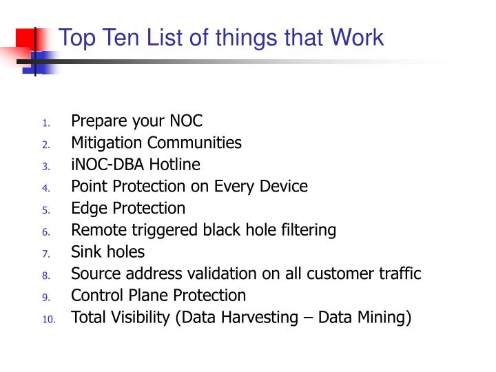 Top Ten List of things that Work