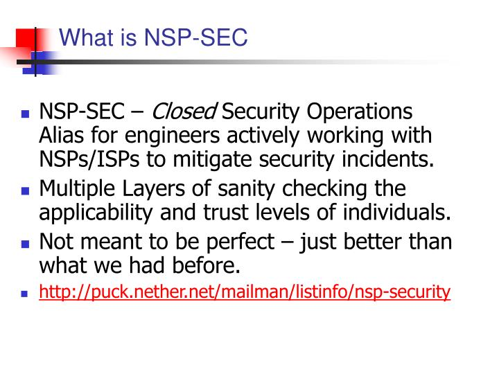 What is NSP-SEC