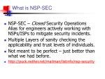 what is nsp sec