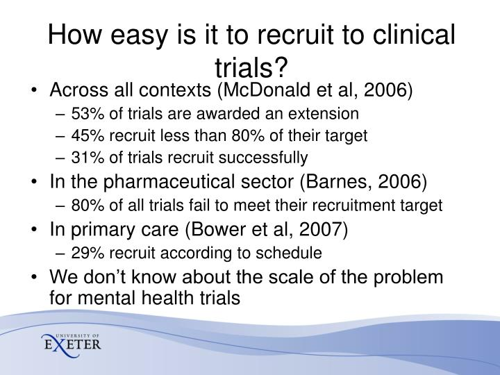 How easy is it to recruit to clinical trials